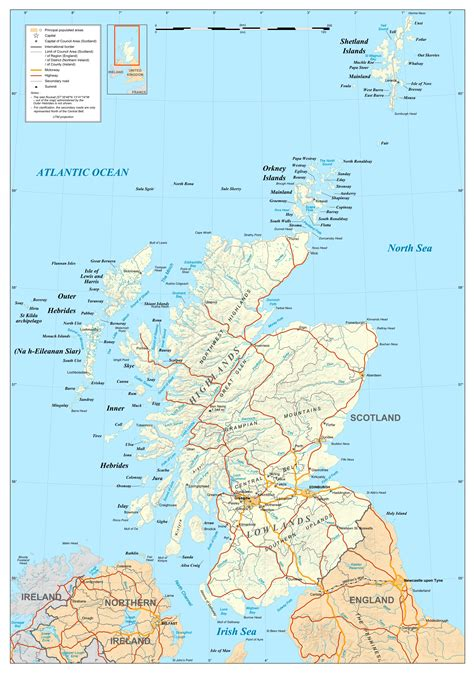 large detailed political map  scotland scotland