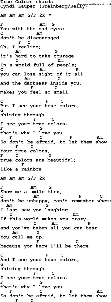 song true colors song lyrics with guitar chords for true colors