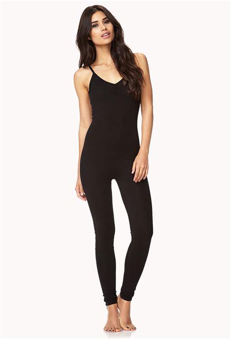 jumpsuit forever 21 forever 21 basic knit jumpsuit in black lyst