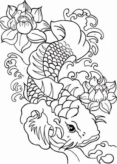 Koi Coloring Fish Pages Japanese Adults Drawing