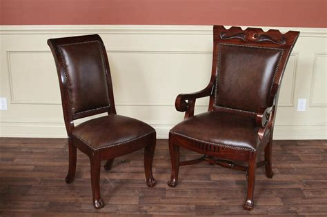 Upholstered Regency Style Dining Chairs, 2 Large Arm