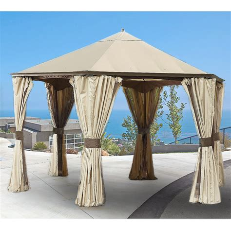 hexagon gazebo replacement canopy for go hexagonal gazebo garden winds