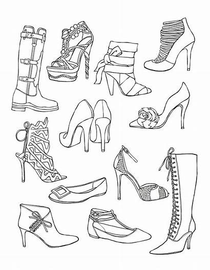 Coloring Pages Shoes Adult Shoe Colouring Adults
