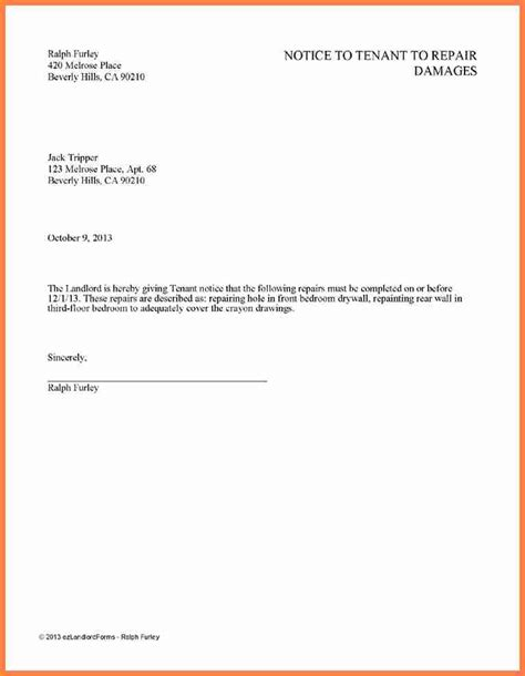 giving tenants notice notice letter