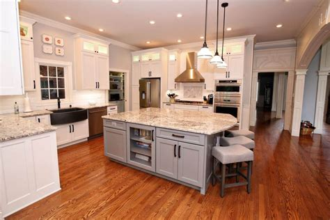 elegant white gray kitchen remodel  granite savvy