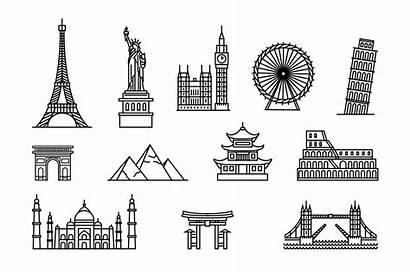Famous Places Tourist Buildings Building Landmarks Icons