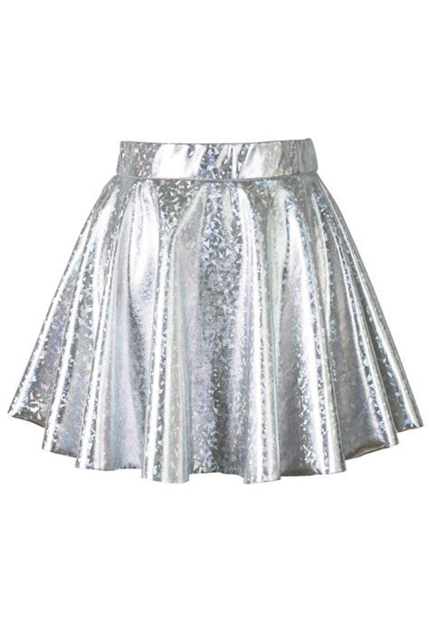 Holographic Silver Mini Skater Skirt   Retro, Indie and