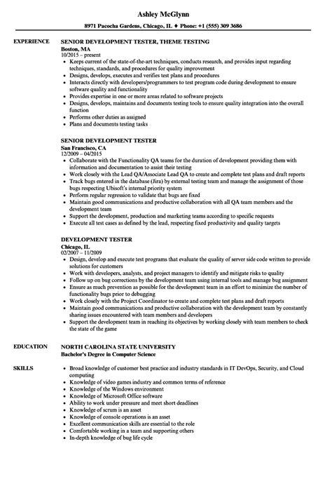 development tester resume samples velvet jobs