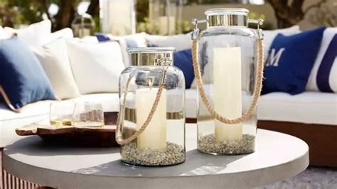 outdoor lanterns and candles for outdoor coffee table decor pottery barn