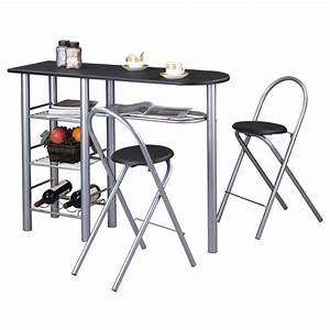 Küchenbar Mit 2 Stühlen : bartisch mit 2 st hlen und ablagef chern in schwarz caro m bel ~ Pilothousefishingboats.com Haus und Dekorationen