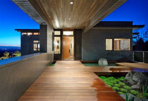 front entry  night contemporary exterior seattle