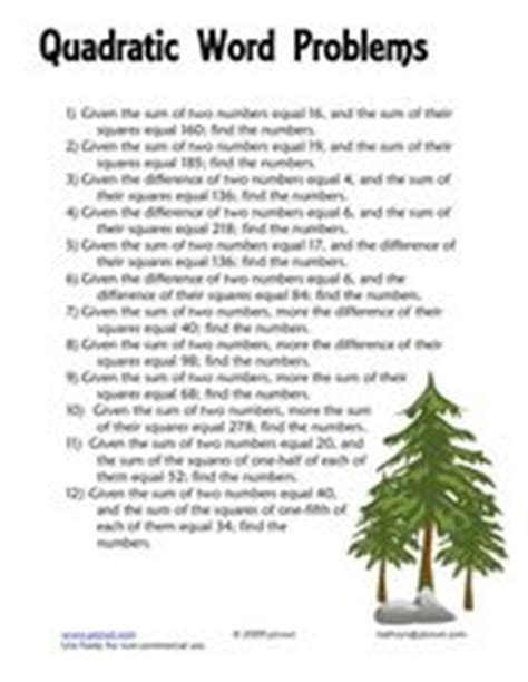 quadratic word problems worksheet for 8th 10th grade lesson planet