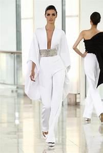 Pantalon De Soiree Chic : stephane rolland combinaison pantalon en cr pe drap blanc brod mode femme ~ Melissatoandfro.com Idées de Décoration