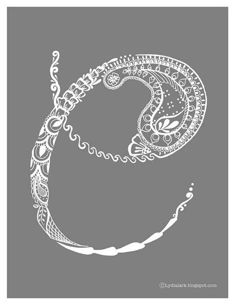 Henna Letter C via Lydia Lark #paisley #henna #alphabet | Lettering, Letter c, C tattoo