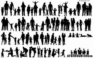 4-Designer | A variety of happy family silhouettes vector ...