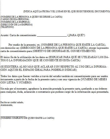 formato carta de consentimiento milformatoscom