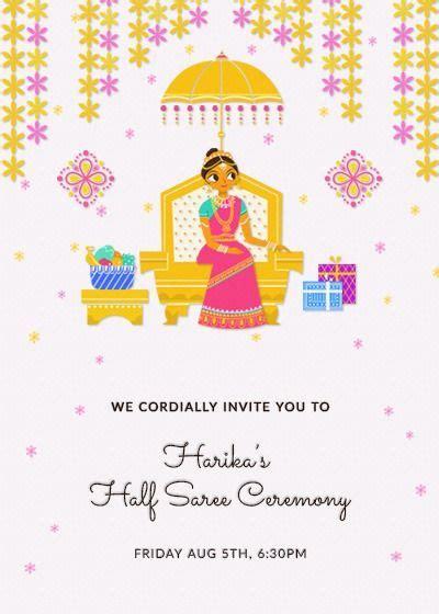traditional halfsaree invitation invites  saree