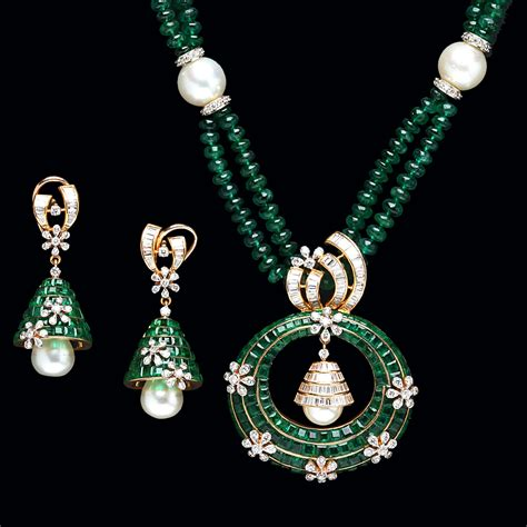 indian jewellery and clothing emerald pendant from pc jewellers