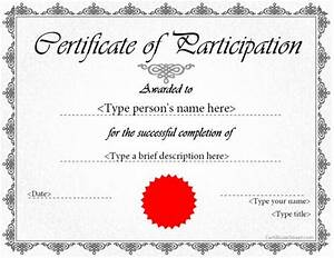 Certificate Of Participation Template Free Special Certificate Award Certificate Of Participation Special