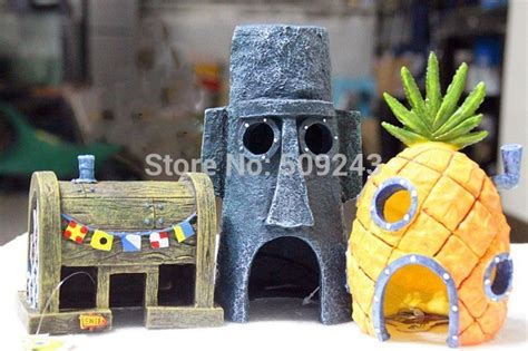 new 2pc set spongebob pineapple house squidward easter island for aquarium decoration fish