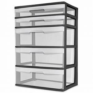 5, Drawer, Wide, Tower, Sterilite, Dresser, Heavy, Duty, Plastic, Storage, Organizer, Clear, 73149293299