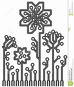 vector circuit board flowers for your design royalty free With pcb circuit board