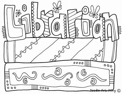 Coloring Library Pages Librarian Community Classroomdoodles Classroom