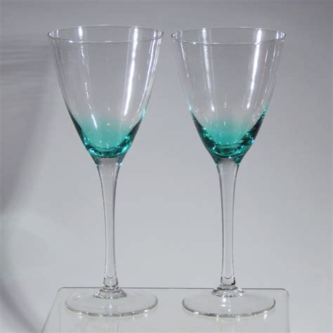 teal cabinets kitchen vintage pair teal blue green bowl clear stem wine 2679