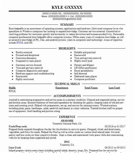 Cook Experience Resume by Line Cook Resume Objectives Resume Sle Livecareer