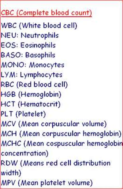 mono blood test normal range abbreviations of complete blood count laboratorytests net