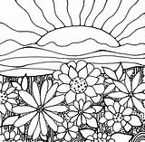 Coloring Sunset Pages Adult Sun Flowers Flower Sunrise Print Sheets Field Cool sketch template