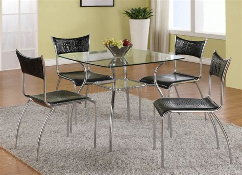 clear glass top modern pc dining set wshelf black chairs