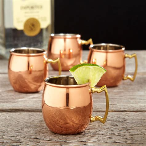 copper moscow mule shot glasses  green head