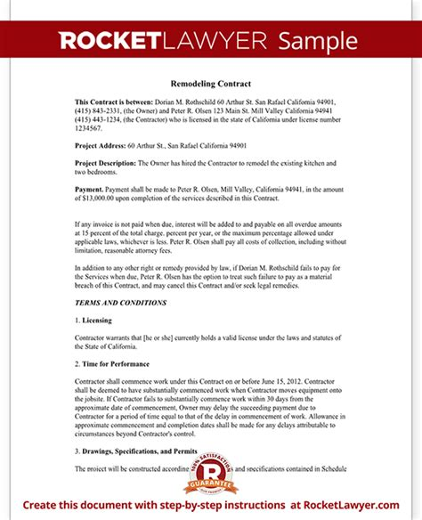 home remodeling contract form  sample