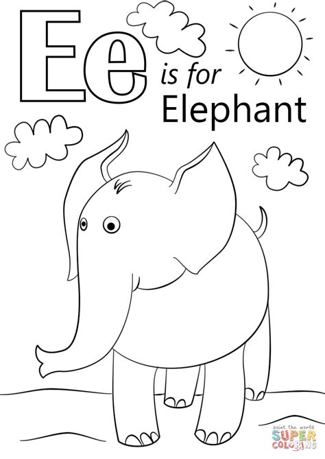 letter    elephant coloring page  printable coloring pages