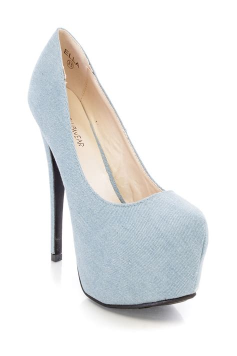 light blue shoes heels light blue platform pump high heels denim