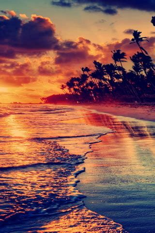 Download Sunset Beach & Red Sky Iphone Wallpaper Mobile
