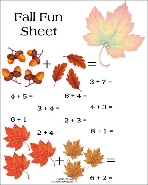 of this math worksheet preschool fall addition