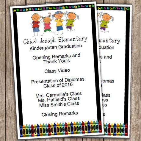 kindergarten graduation half sheet blank editable program 601 | il 570xN.938870118 dzr3