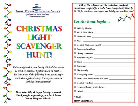 the activity light scavenger hunt for