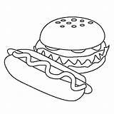 Coloring Dog Hamburger Pages Burger Template Sheet Cheeseburger Pizza Ice Cream sketch template