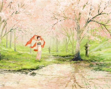 Japan Cherry Blossom Wallpaper 1280x1024 Cherry Blossom Geisha Japan Desktop Pc And Mac Wallpaper