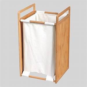 Panier à Linge Bambou : panier linge bois et tissu blanc panier linge eminza ~ Teatrodelosmanantiales.com Idées de Décoration