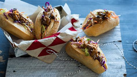 spicy pulled pork rolls  coleslaw  barbecue sauce