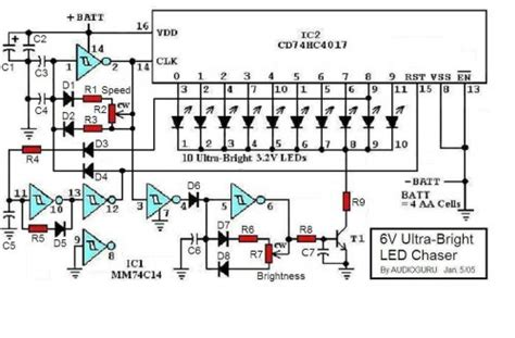 ultra bright led chaser circuit