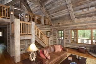 colonial style homes interior hewn skin wall paneling and barnwood ceiling rustic