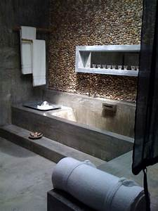 Wandgestaltung Vintage Look : moderne badezimmer im vintage style mit estrich boden und ~ Lizthompson.info Haus und Dekorationen
