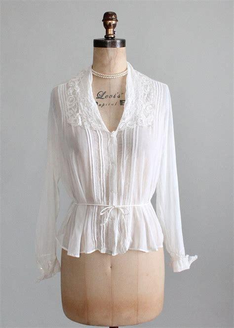 white cotton blouse vintage 1910s white cotton and lace blouse raleigh vintage