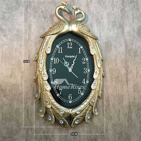 personalized wall clocks resin peacock carved vintage