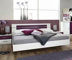 Design  Bett Arwen 180x200 Cm In Weiss Und Brombeer Mit
